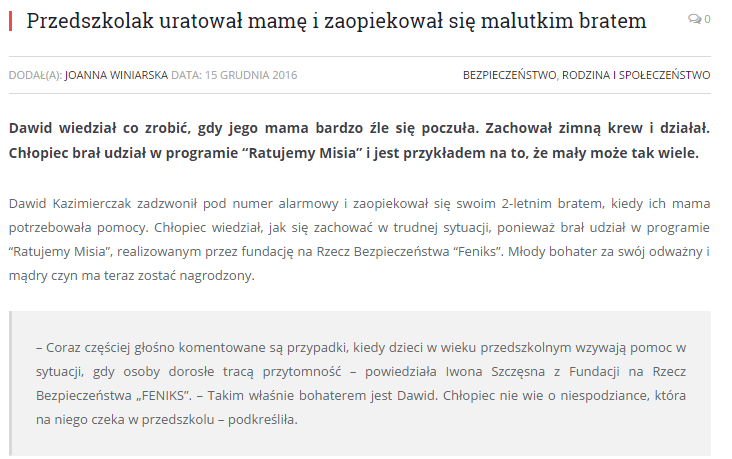 Petronews o naszej akcji i dzielnym Dawidzie!